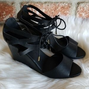 BAMBOO black leather lace up wedges